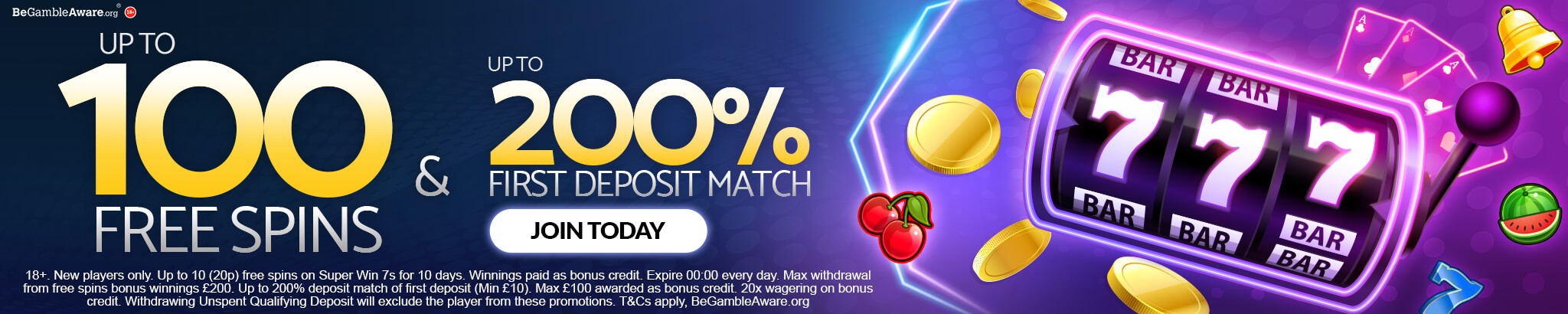 Get up to 100 free spins and up to 200% first deposit match