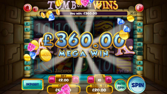 Tomb of the Wins mobile slots by mFortune Casino big win message