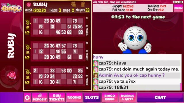 mFortune Bingo ruby mobile bingo room