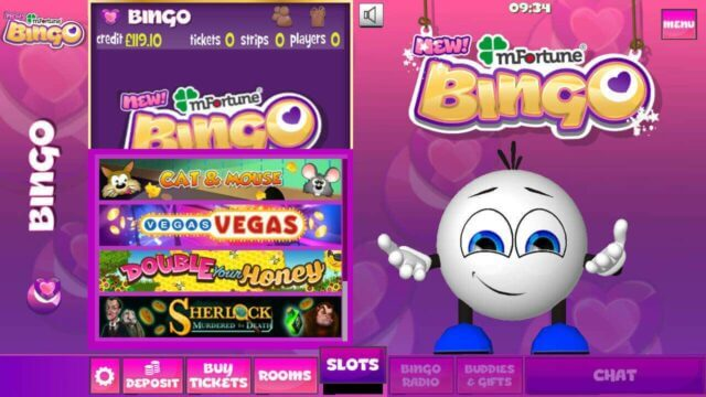 mFortune Bingo mobile slots menu