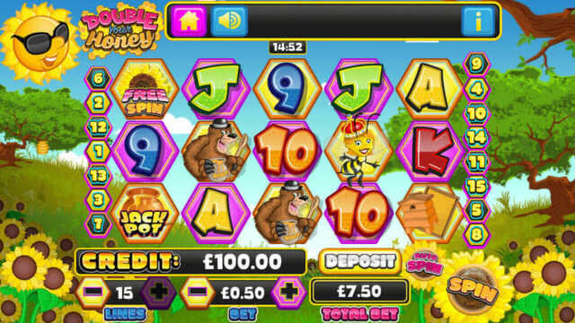 Screenshot of the Main Reels in Double Your Honey mobile slots by mFortune