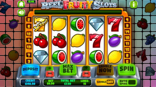 Reel Fruity Slots mobile slots by mFortune Casino main reels screenshot