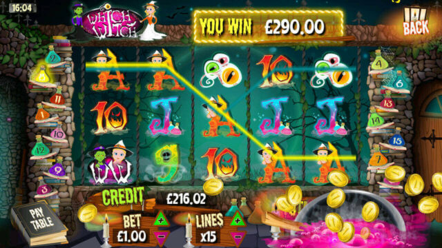 Big Win Message in Which Witch mobile slots by mFortune