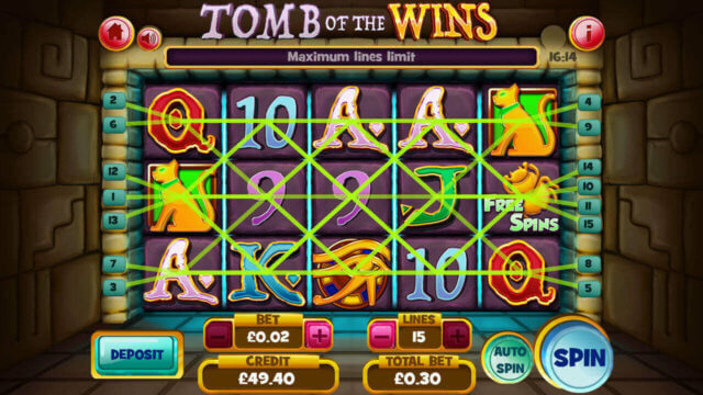 Tomb of the Wins mobile slots by mFortune Casino screenshot showing win lines