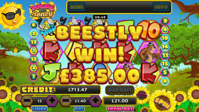 Big Win message in Double Your Honey mobile slots by mFortune