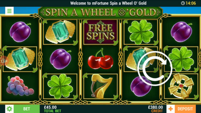 Spin A Wheel O'Gold mobile slots game image at mfortune casino